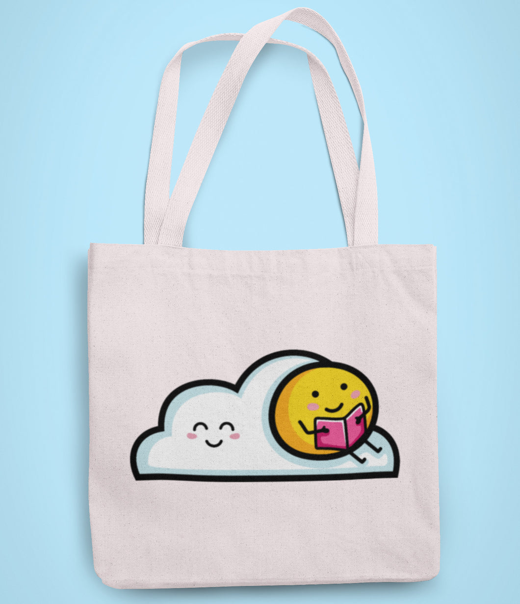 Kawaii cute sun sitting on a cloud reading a book design on a recycled cotton and polyester tote bag
