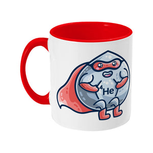 A red and white two toned ceramic mug with a picture of a droplet of liquid wearing a red superhero costume with 4He on its chest - back view