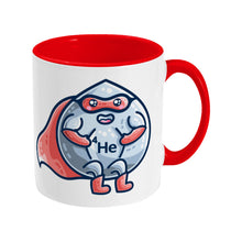Load image into Gallery viewer, A red and white two toned ceramic mug with a picture of a droplet of liquid wearing a red superhero costume with 4He on its chest - front view