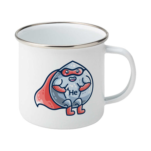 A silver rimmed enamel mug with a picture of a liquid droplet wearing a red superhero costume wth 4He on its chest - front view