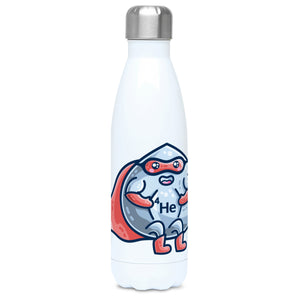 A white stainless steel drink bottle with a picture of a liquid droplet wearing a red superhero costume with 4He on its chest - front view with lid on