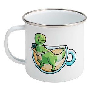 Green tyrannosaurus rex dinosaur in a glass teacup design on a silver rimmed white enamel mug, showing LHS
