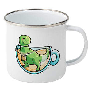 Green tyrannosaurus rex dinosaur in a glass teacup design on a silver rimmed white enamel mug, showing RHS