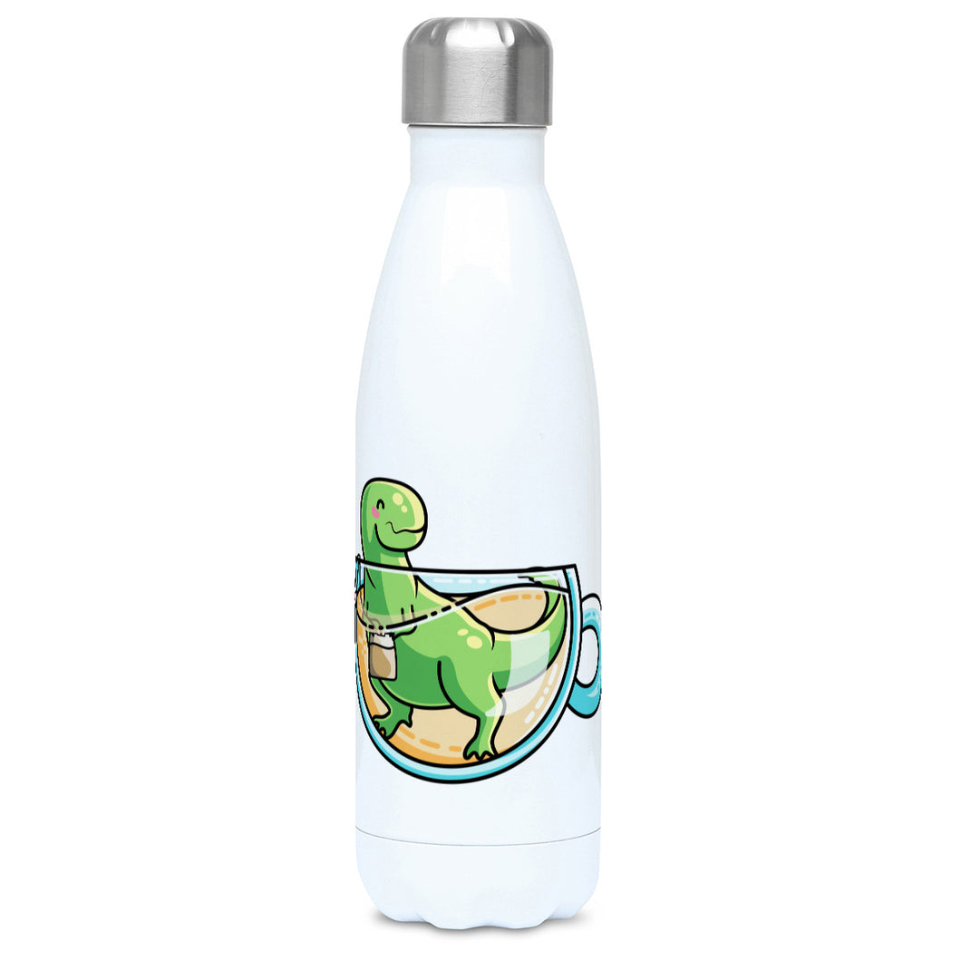 Green tyrannosaurus rex dinosaur in a glass teacup design on a white metal insulated drinks bottle, lid on