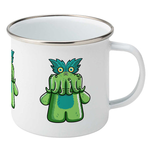 StarKid tickle-me-wiggly plush toy on a silver rimmed white enamel mug, showing RHS