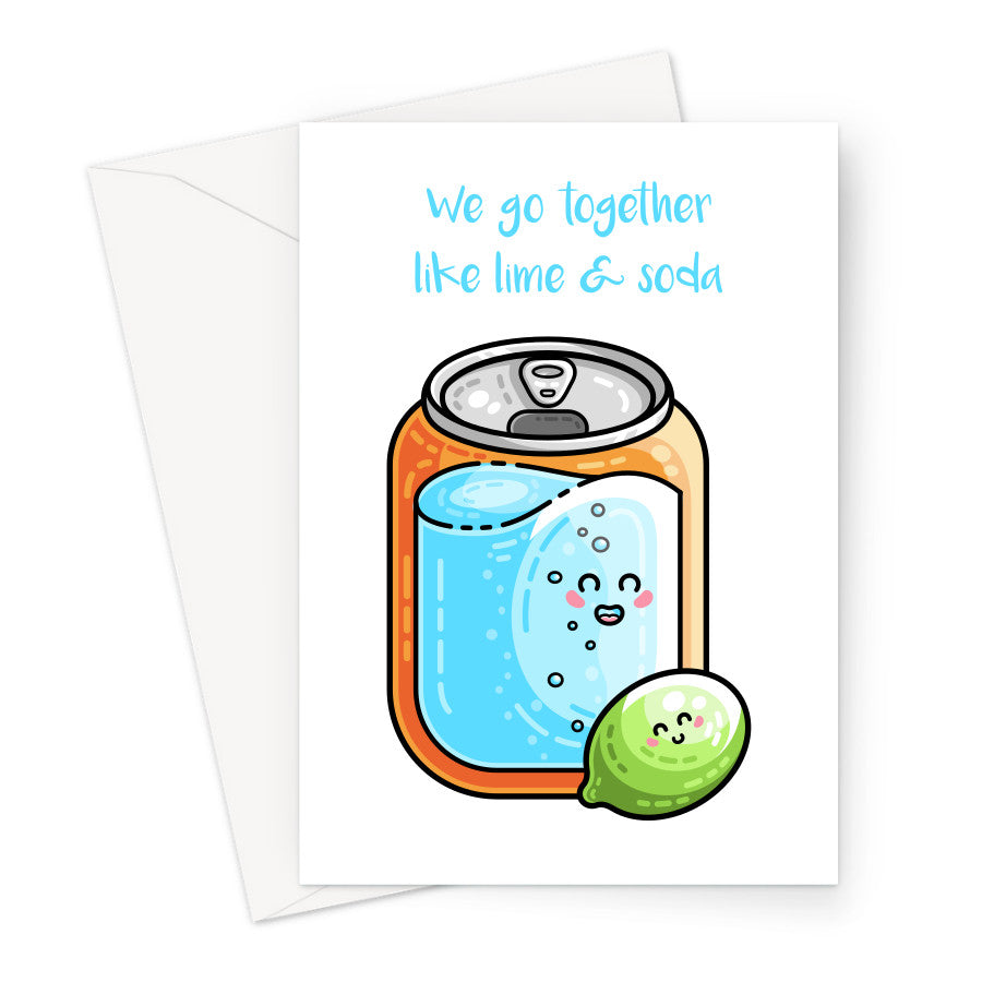Greeting card of a kawaii cute fizzy drinks can of soda next to a kawaii cute lime fruit on a white background