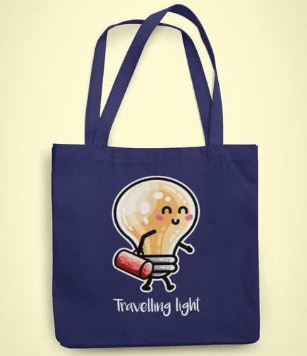 cute lightbulb walking and carrying a bag above the words 'travelling light' on a recycled cotton and polyester tote bag