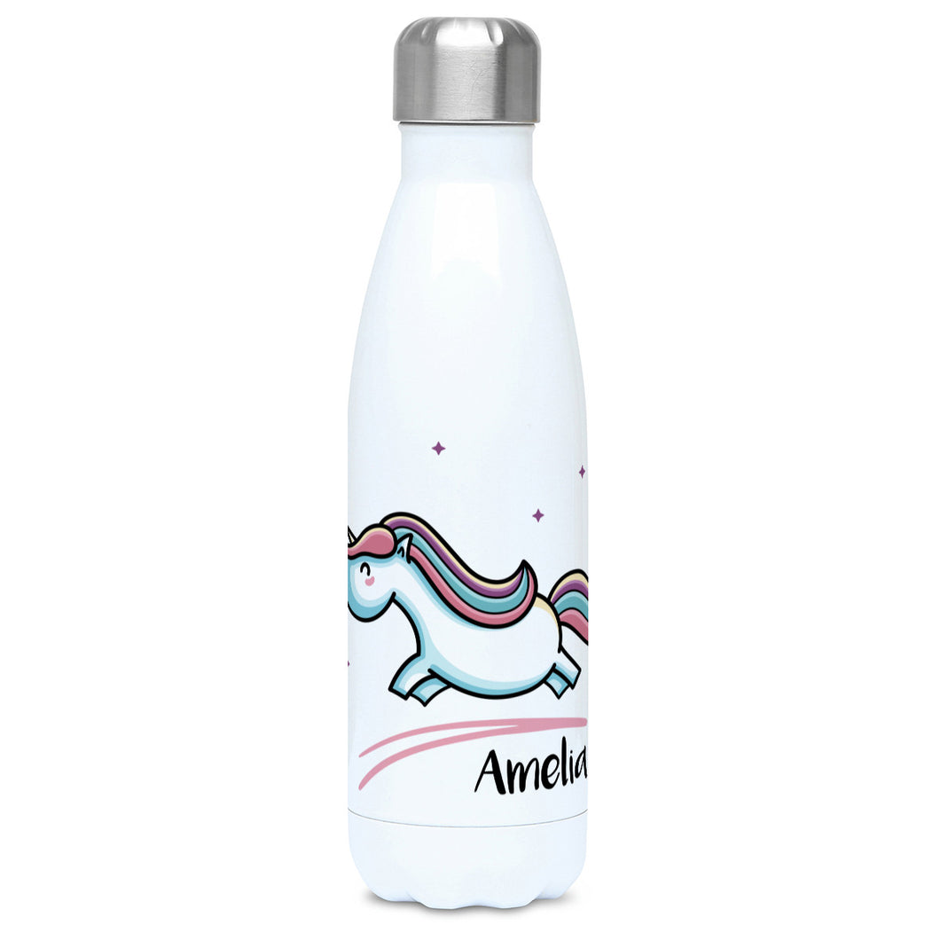 cute pastel coloured leaping unicorn and personalised name on a white metal insulated drinks bottle, lid on