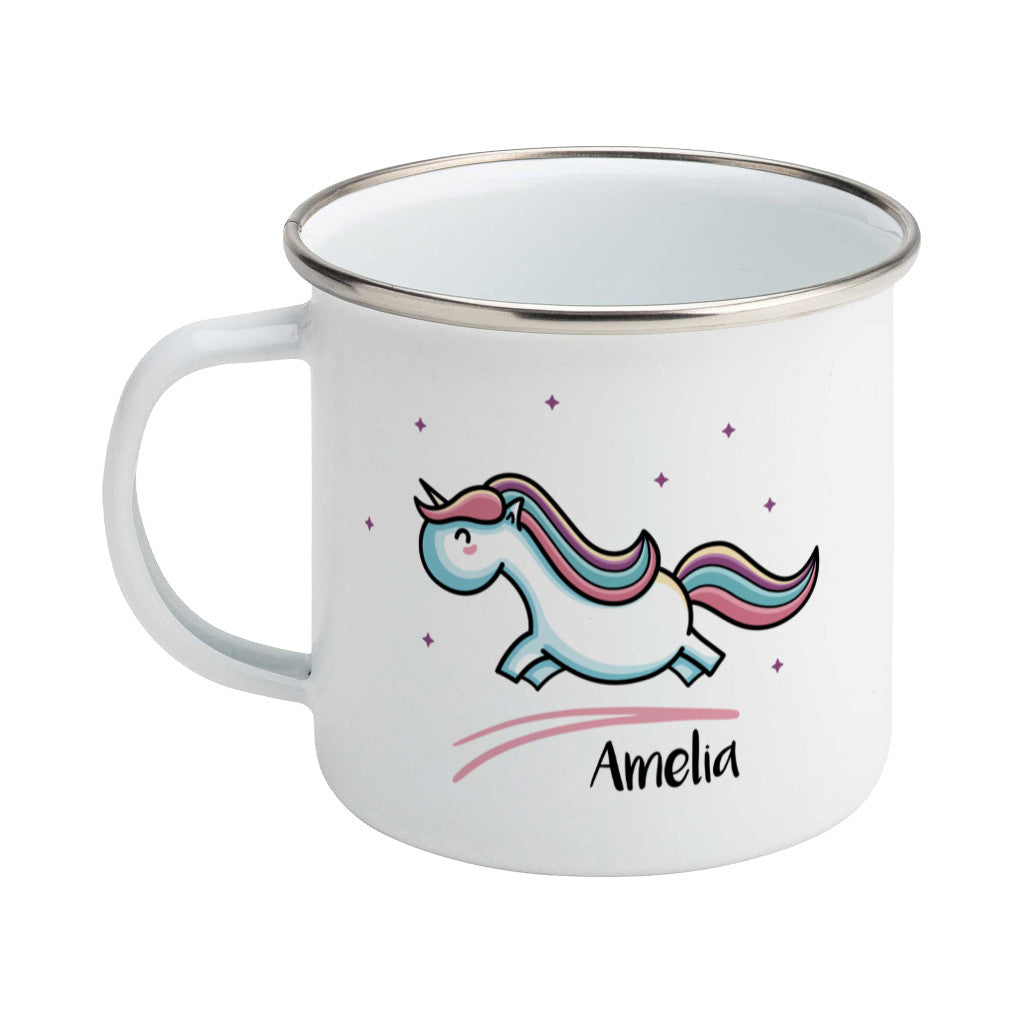 cute pastel coloured leaping unicorn and personalised name on a silver rimmed white enamel mug, showing LHS