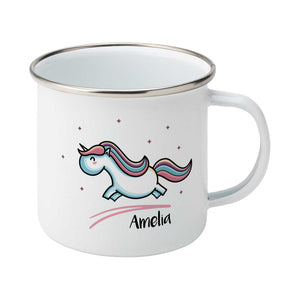 cute pastel coloured leaping unicorn and personalised name on a silver rimmed white enamel mug, showing RHS