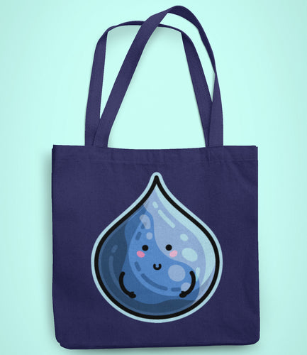 Kawaii cute blue droplet of water design on a dark blue recycled cotton and polyester tote bag