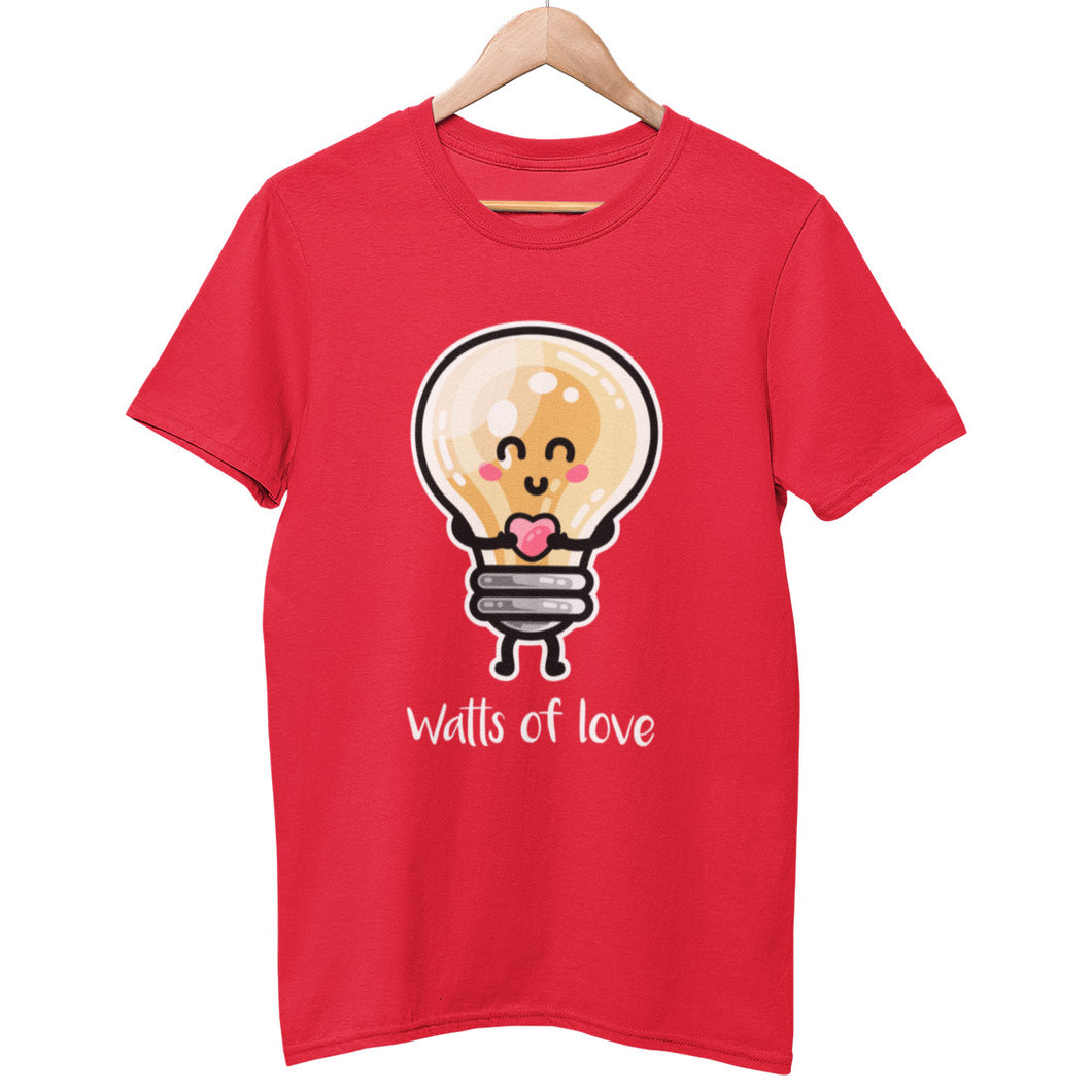 A red unisex crewneck t-shirt on a hanger with a design on its chest of a kawaii cute happy lightbulb with arms and legs standing straight on holding a pink heart and with the words watts of love written beneath in white