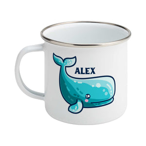 a cute sperm whale design shown on a white enamel mug with the handle on the left and personalised with the name Alex