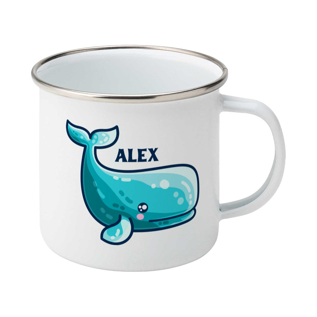 a cute sperm whale design shown on a white enamel mug with the handle on the right and personalised with the name Alex