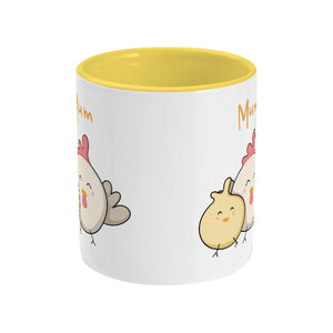 Kawaii cute hen and chick with word 'Mum' design on a two toned yellow and white ceramic mug, side view