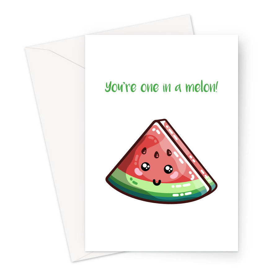 Greeting card of a kawaii cute slice of watermelon on a white background