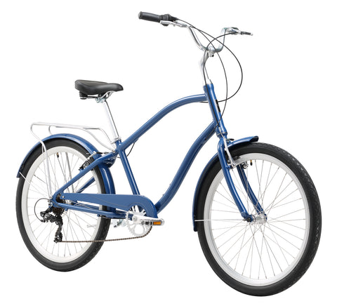 "Firmstrong ANYjourney Men's 26"" 7 Speed Hybrid Cruiser Bicycle, Navy Blue"