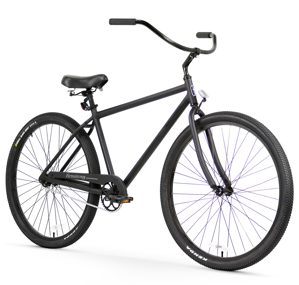 "Firmstrong Black Rock Single Speed, Matte Black - Men's 29"" Beach Cruiser Bike w/ Heavy Duty Wheel"
