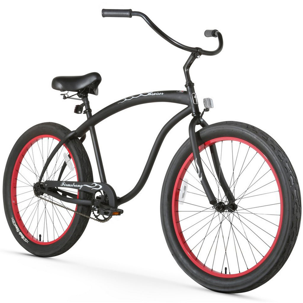 "Firmstrong Bruiser 3.0 Single Speed Men's 26"" Beach Cruiser Bike Matt Black with Red Rim"