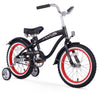"Firmstrong 16"" Mini Bruiser Beach Cruiser Bicycle w/ Training Wheels, Black w/ Red Rims"