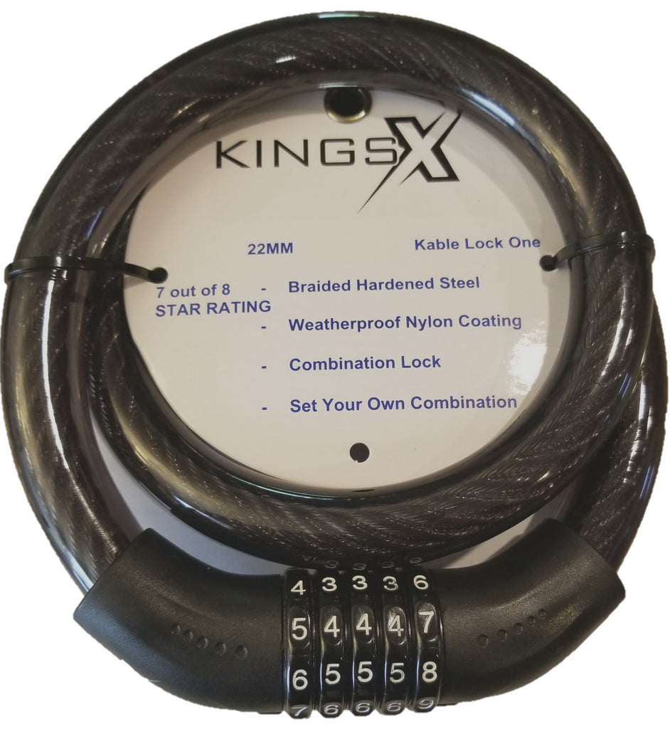 KingsX 5 Digit Resettable Combination Heavy Duty Cable Lock