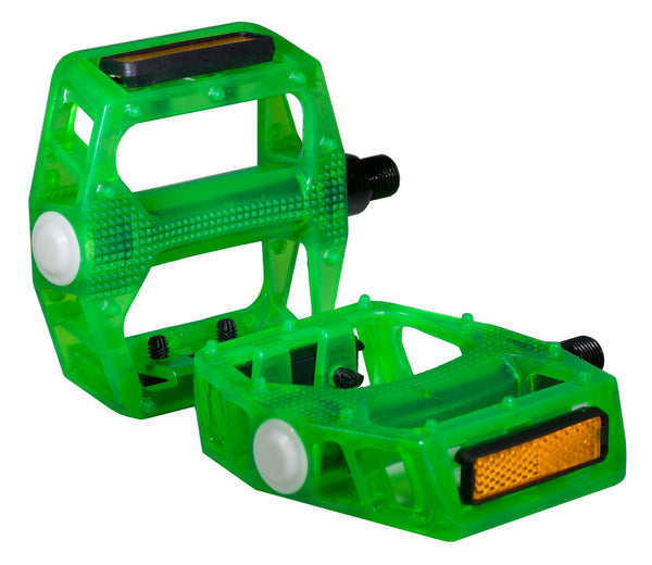 "Bike Pedal Translucent Green & Blue 1/2"" Axle"