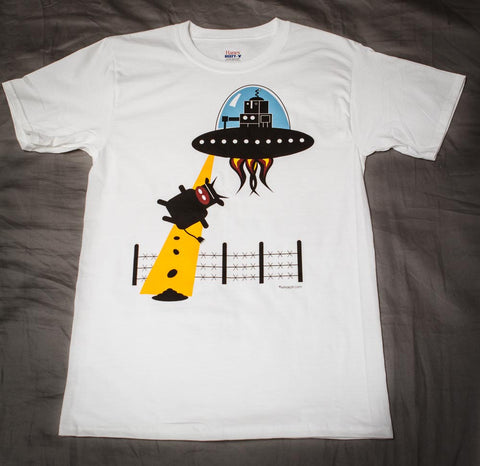 Robot in a Flying Saucer Abducting a Cow short sleeve t-shirt