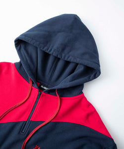 PANELED HALF ZIP HOODED SWEAT FLEECE, CREWNECK, HOODIE XLARGE