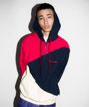 Load image into Gallery viewer, PANELED HALF ZIP HOODED SWEAT FLEECE, CREWNECK, HOODIE XLARGE