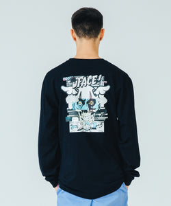 XLARGE x D*FACE L/S STRIPE SKULL RENDER POCKET TEE