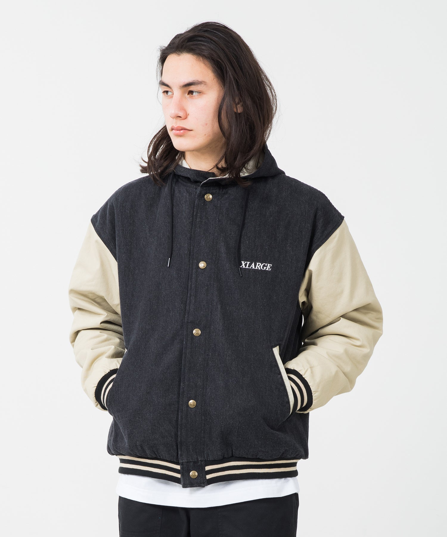 HOODED VARSITY DENIM JACKET