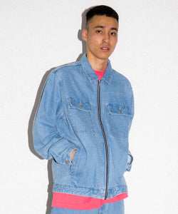 EMBROIDERY ZIPPED DENIM JACKET OUTERWEAR XLARGE