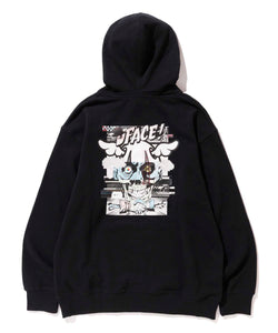 XLARGE x D*FACE STRIPE SKULL RENDER PULLOVER HOODED SWEAT FLEECE, CREWNECK, HOODIE XLARGE