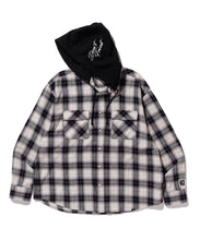 Load image into Gallery viewer, L/S HOODED FLANNEL CHECK SHIRT