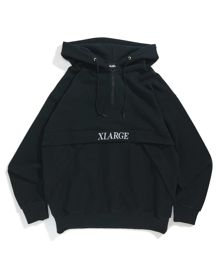 EMBROIDERY LOGO HALF ZIP HOODED SWEAT FLEECE, CREWNECK, HOODIE XLARGE