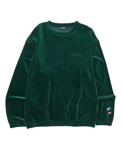 ADDICT LOGO EMBROIDERY VELOUR CREWNECK FLEECE, CREWNECK, HOODIE XLARGE