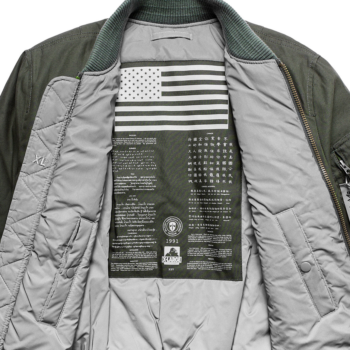 ALPHA INDUSTRIES x X-LARGE 25th ANNIVERSARY MA-1 JACKET - X-Large Clothing