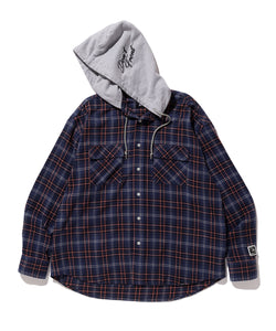 L/S HOODED FLANNEL CHECK SHIRT