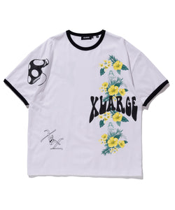 S/S FLORAL PRINT RINGER TEE T-SHIRT XLARGE