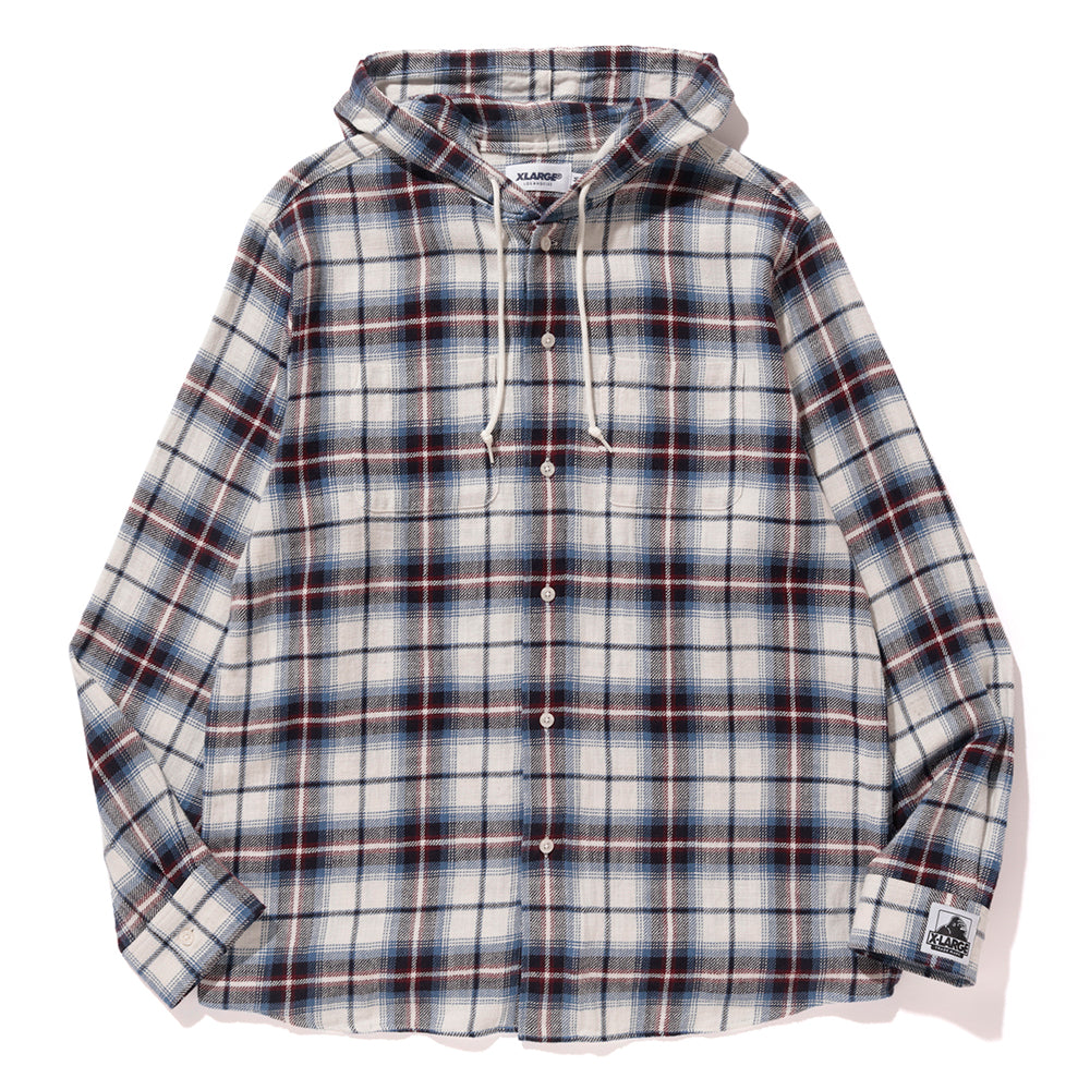 HOODED CHECK PATTERN SHIRT - X-Large Clothing
