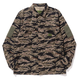 TIGER CAMO BACK SATIN MILITARY SHIRT - X-Large Clothing