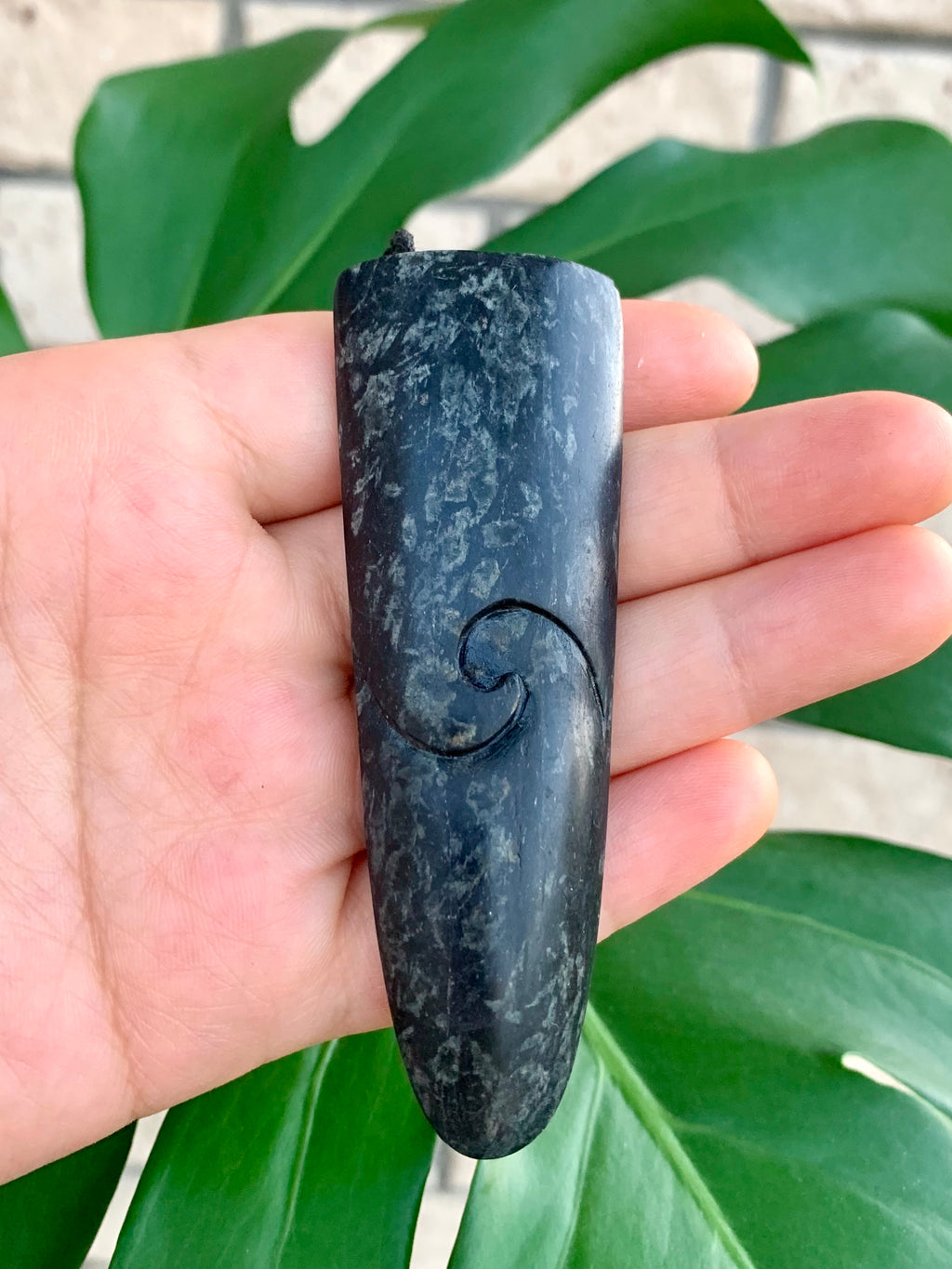 Rei Niho with Koru Large Serpentine Pounamu New Zealand Greenstone Pendant