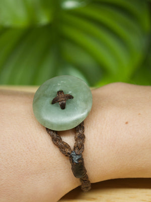 Bracelet button Pātene Inanga Pounamu New Zealand greenstone