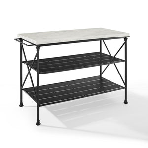 Kitchen Island in White Faux Marble & Black Large Storage Shelves 3024-MB - Kitchen Furniture Company