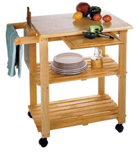Load image into Gallery viewer, Mobile Kitchen Cart With Knife Block and Pullout Cutting Board - Kitchen Furniture Company