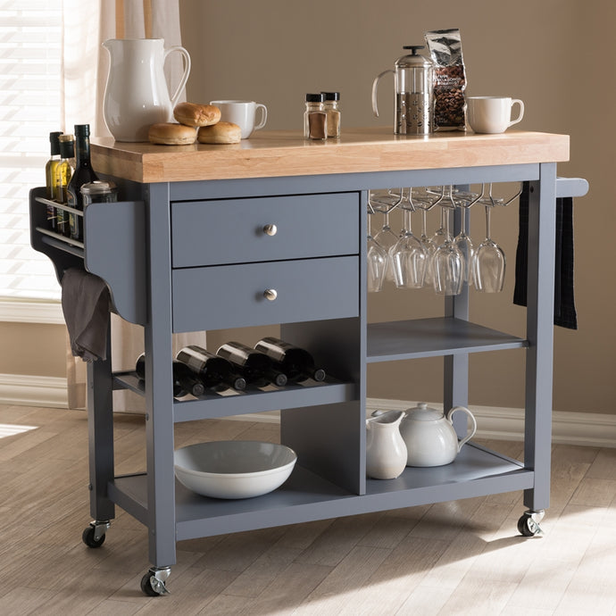 Rolling Small Gray Farmhouse Kitchen Island Cart with Wood Top - Kitchen Island Company