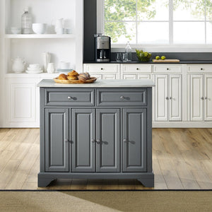 Gray Kitchen Island with Double Door Storage Solid Top KF30043BGY - Kitchen Furniture Company