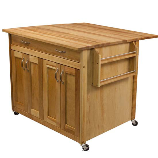Kitchen Island with Flat Panel Doors and Drop Leaf - Two Different Sizes - Kitchen Furniture Company
