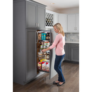 "15"" Wide x 74"" High Chrome Wire Pantry Pullout with Heavy Duty Soft-close - Kitchen Island Company"