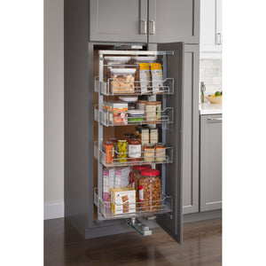 "12"" Wide x 86"" High Chrome Wire Pantry Pullout with Swingout Feature - Kitchen Island Company"